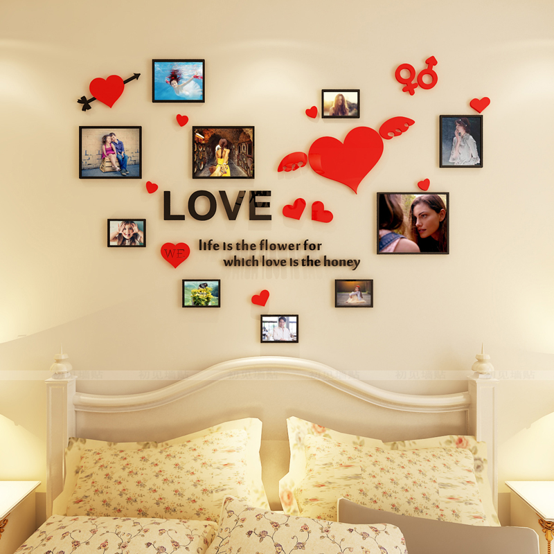 Free shipping LOVE heart Acrylic mirror wall stickers Living room Photo frame DIY art wall decor Bedroom 3D wall stickers(China)