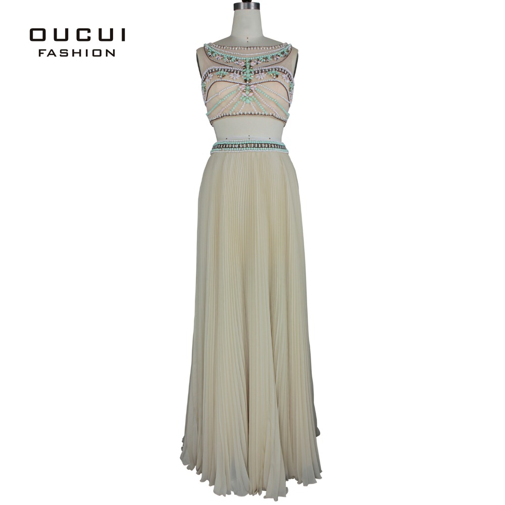 Real Photos Nude Color Tulle Chiffon Beading Handwork Rhinestone Dress Long Prom Gown OL102661 vestidos noche