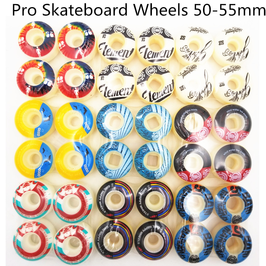 New 4pcs Pro PU Skateboard 51mm 52mm 53mm 54mm Wheels Rodas Skateboarding Parts Wheels 101A  Rodas De Skate