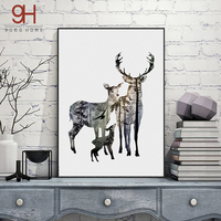 Silhouette Of Deer Family With Pine Forest Canvas Art Print Painting Poster Wall Picture For Home