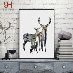 Silhouette of deer family with pine forest canvas art print painting poster wall picture for home.jpg 250x250