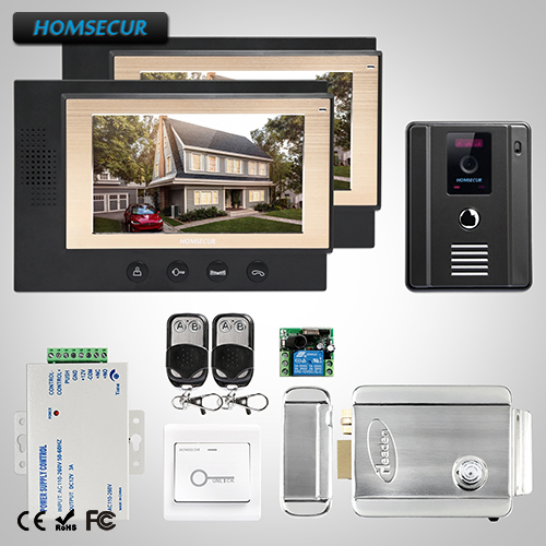 HOMSECUR 7 Wired Hands-free Video&Audio Home Intercom+Outdoor Monitoring (TC011-B+TM701-B)
