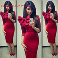 Stunning Red Cocktail Dresses With 3/4 Long Sleeves Women High Neck Satin Sexy Party Homecoming Dress Gown Sheath Custom Made
