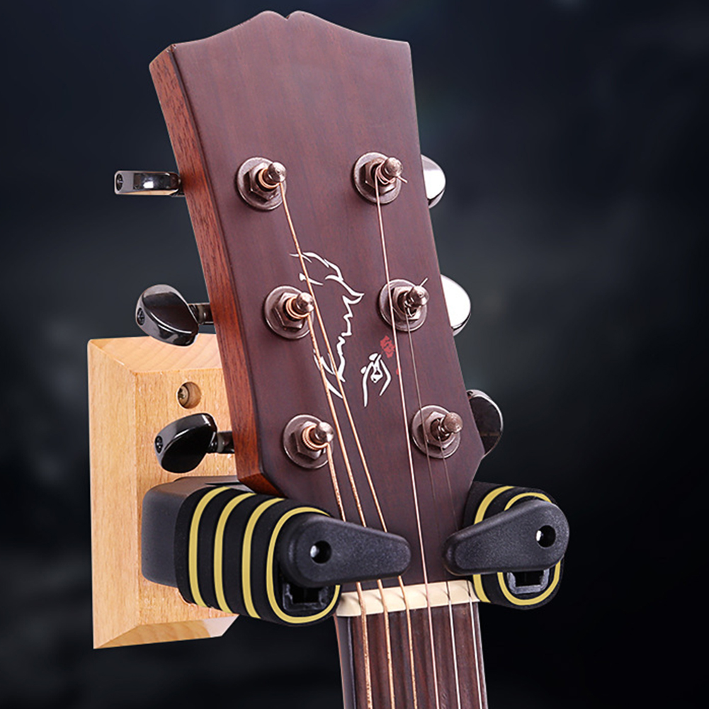 Automatic Lock Bass Stand Gravity Support Rack Holder Accessories Hook Display Guitar Hanger Rotate Wood Base Wall Mountable