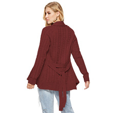 long sleeve belt solid relaxed sweater