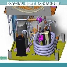 10.5KW(3HP) титановый коаксиальный конденсатор, трубчатый конденсатор, Коррозионностойкий теплообменник