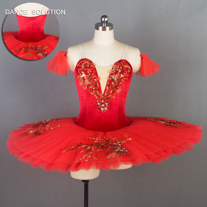 Red Pre Professional Ballet Dance Tutu Dress for Girls and Women Ballerina Dance Costume for Performance