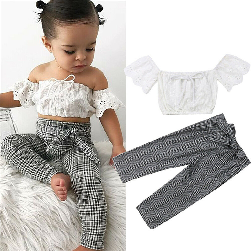 2-7T Toddler Kids Baby Girls Clothes Set Summer Off Shoulder Lace Crop Top And Long Pants Cute Lovely Sweet Streetwear Outfits(China)