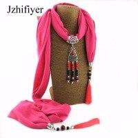 Jzhifiyer Cotton Linen Women Pendant Scarf Jewellery Mujer Shawls Fringe 40x200cm Hijab Scarfs Necklace Beads Shawl