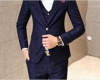 Пром мужской костюм с брюками красный цветочный жаккардовые Нарядные Костюмы для свадьбы для Для мужчин 3 шт./компл. (куртка + жилет + штаны) к