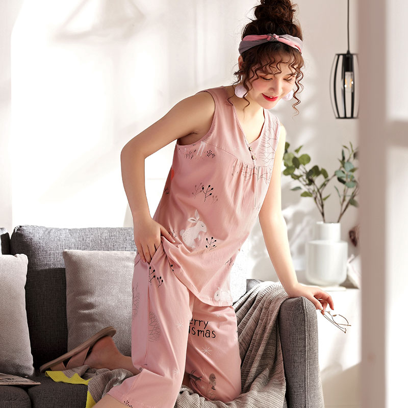 Women's Sleepwear Soft Pure Cotton Pajama Set V-Neck Pyjamas Sleeveless Cute Rabbit Floral Top + Cropped Trousers Plus Size 4XL