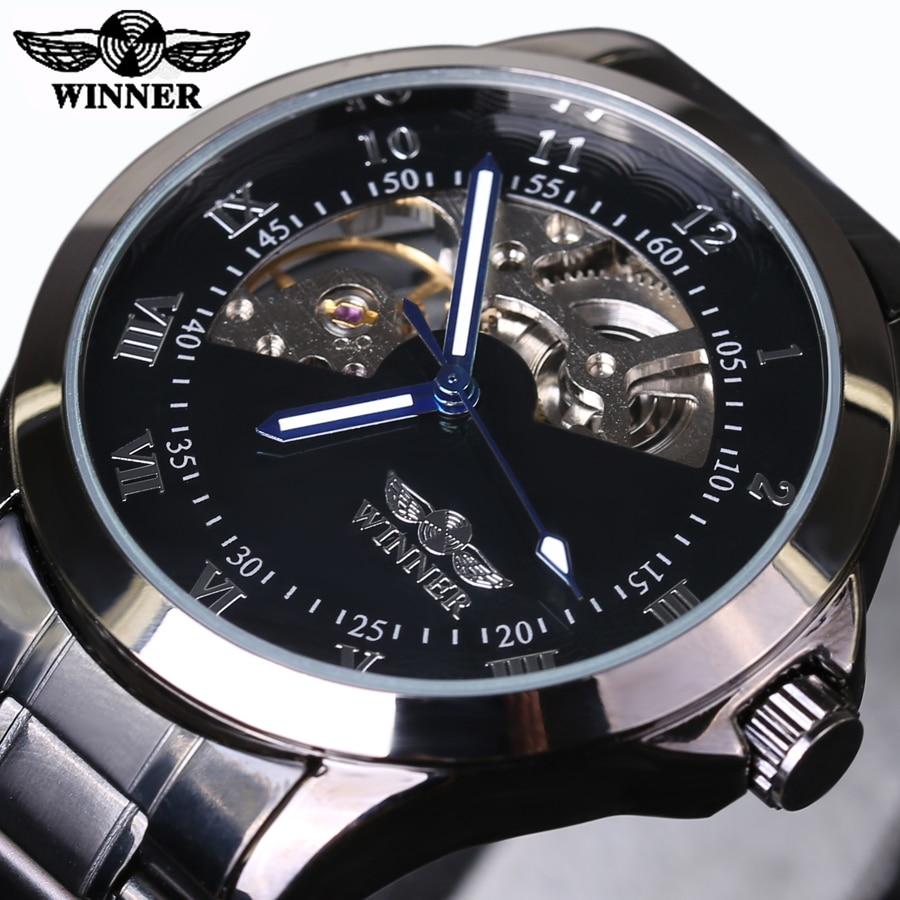T-WINNER Fashion Men Male Mechanical Watch Steel Automatic Sport Business Classic Skeleton Steampunk Wristwatch