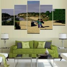 Home Decoration Pictures Modular Framework Canvas HD Printed Poster 5 Panels Game Minecraft Island Painting Wall Decor