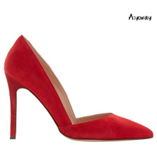 Aiyoway Women Shoes Pointed Toe High Heels Pumps Autumn Spring Party Shoes Slip-On Faux Suede Big Size Red pumps women shoes light khaki dress shoes suede faux leather round toe pumps platform leopard high heels slip on women shoes real photo us14