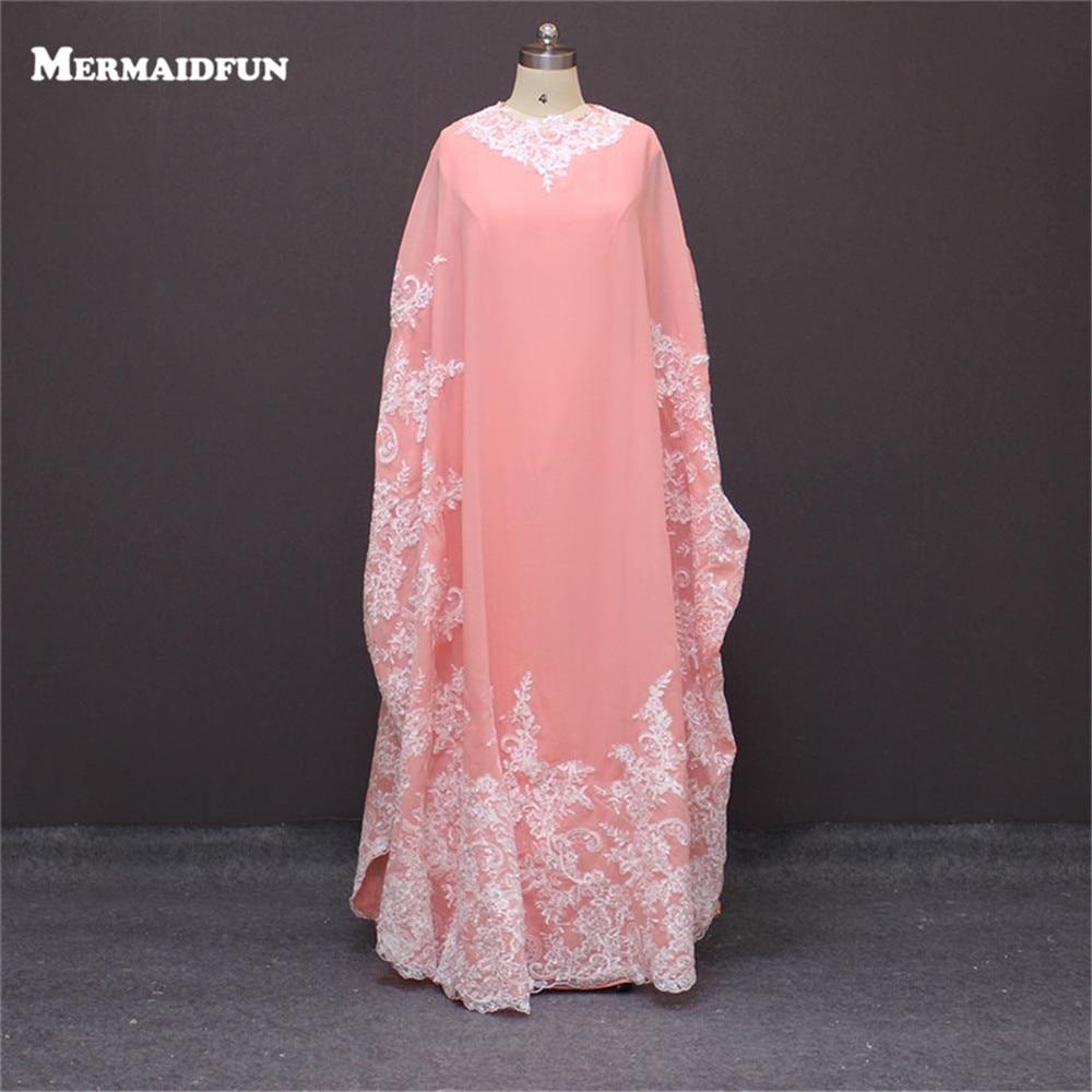 Manches longues rose Appliques perles Abaya à dubaï caftan musulman robes De soirée arabe robes De soirée Robe De soirée longue E5004