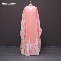 c999c30bb Elegant Long Sleeve Pink Appliques Beading Abaya In Dubai Kaftan Muslim  Evening Dresses Arabic Evening Gowns. Manga larga ...