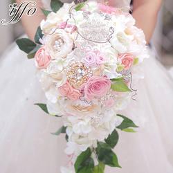 Красивые Букеты Свадебные невесты водопад стиль букет увековечены букет роз розовый букет невесты Настраиваемые