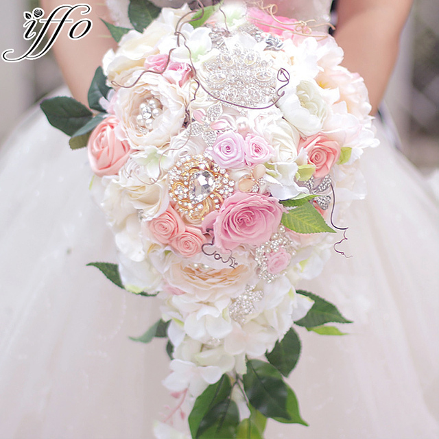Beautiful Wedding Bouquet Bridal Waterfall Style Immortalized Rose Pink Bride S Customizable