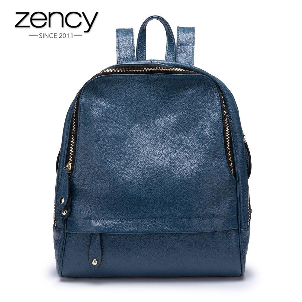 Zency 100% Réel Mode En Cuir Bleu sac à dos pour femme Grande Capacité de Vacances Sac À Dos Preppy Style de Fille Cartable Grand nouveau jouet