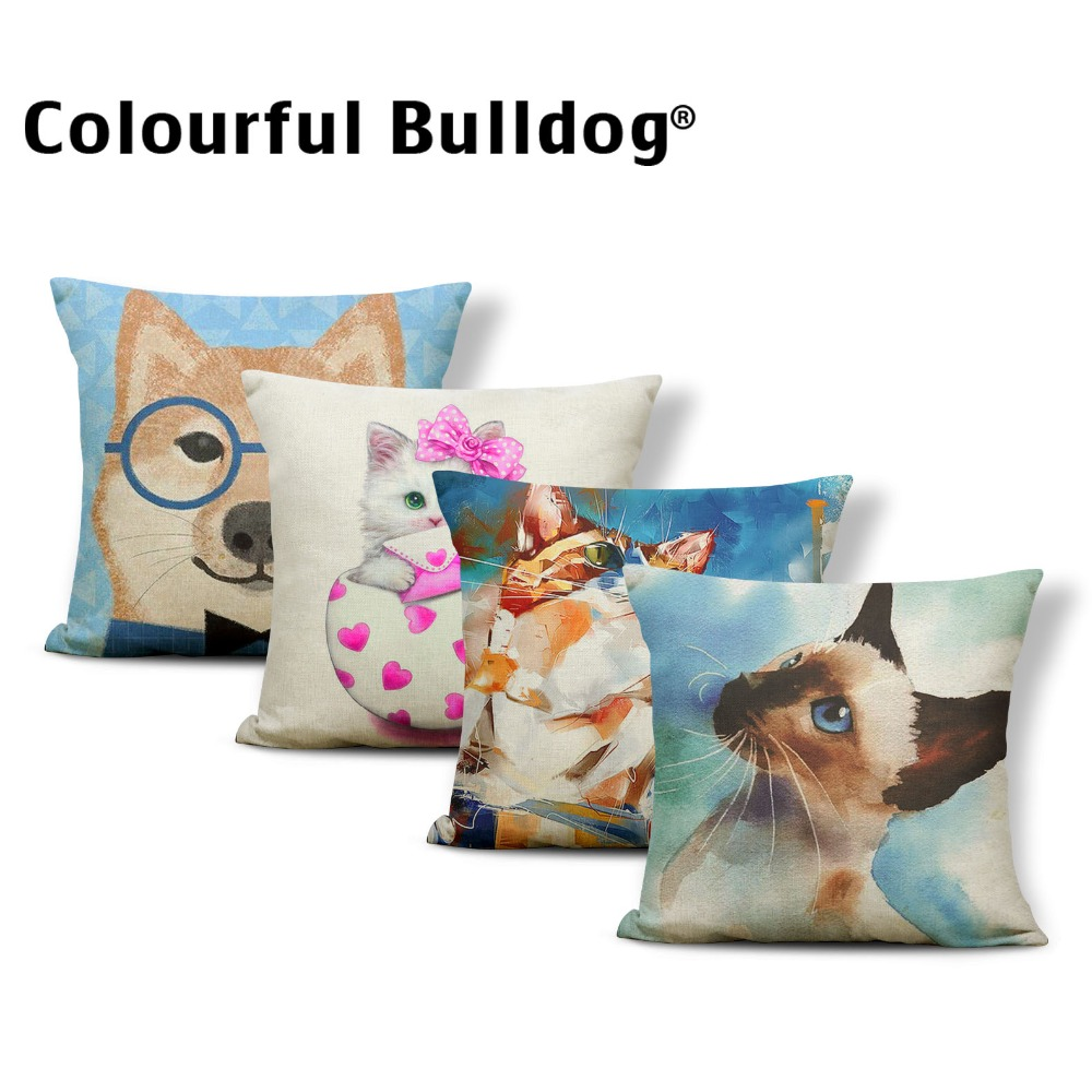Animal Cat Siamese Cushions Chrysanthemum Pillow Case Hawaiian Backyard Lumbar Support Toss Pillow Imagine 45*45 Burlap Decor