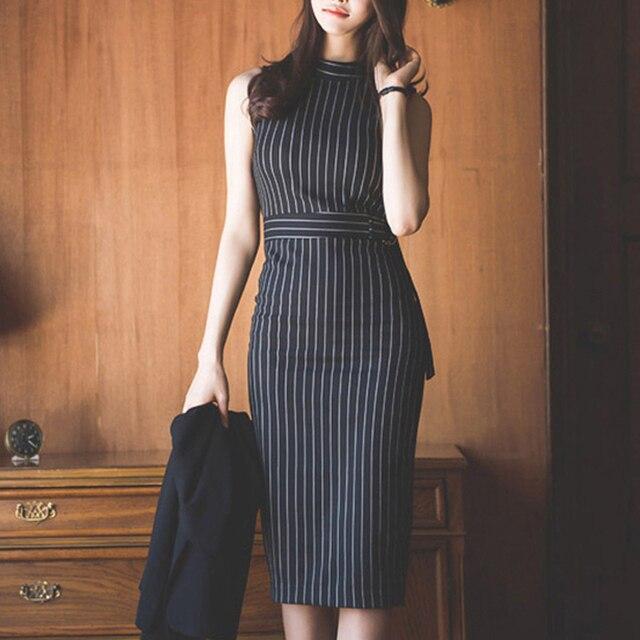 Çizgili ofis bayan iş elbise kadınlar kolsuz ince seksi yaz sonbahar paketlenmiş kalça zarif moda Vestido Mujer