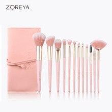 hot deal buy zoreya brand 12pcs pink makeup brush set eyeshadow eyebrow powder blush fan brush wooden handle beauty makeup tools