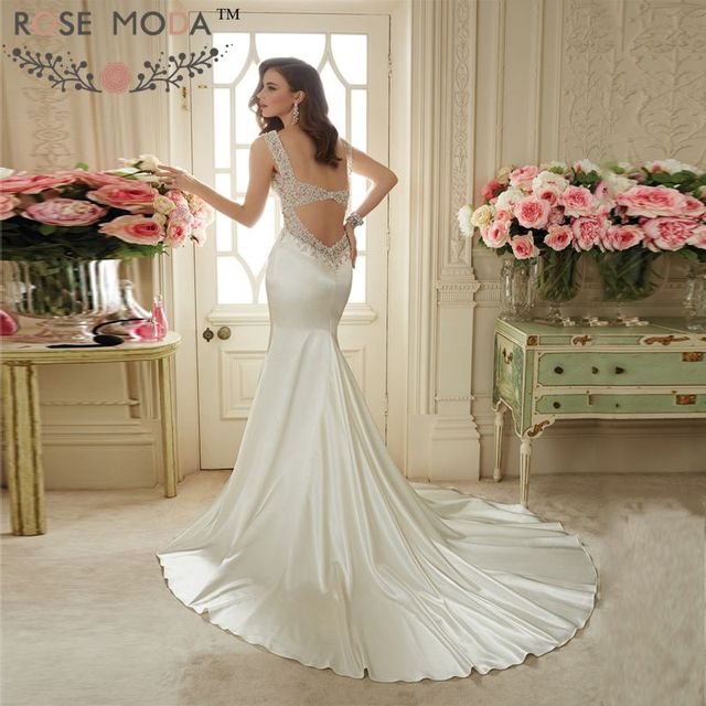 b1b531d775914 Sexy Plunging V Neck Sleeveless Beach Wedding Dress with Double Keyhole  Back Beaded Summer Bridal Dress