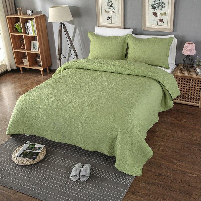 Качество постельное белье из хлопка Стёганое одеяло комплект 3 шт покрывало зеленый сплошной вышитые стеганые одеяла покрывало наволочка к