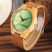 Nature Wooden Mens Wrist Watch Top Genuine Leather Band Strap Pin Buckle Casual Simple Bamboo Quartz Waches Watch Creative Gift