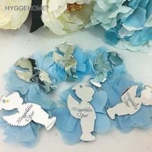 20pcs 8cm high Custom Mirrored Boy With Flowers included Baby Shower Name Date  Baby Personalized Babyshow Birthday Party Gift