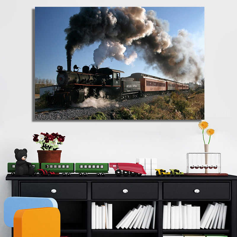Classical Steam Locomotive Posters and Prints Wall Art Canvas Painting Trains Decorative Pictures For Living Room Home Decor