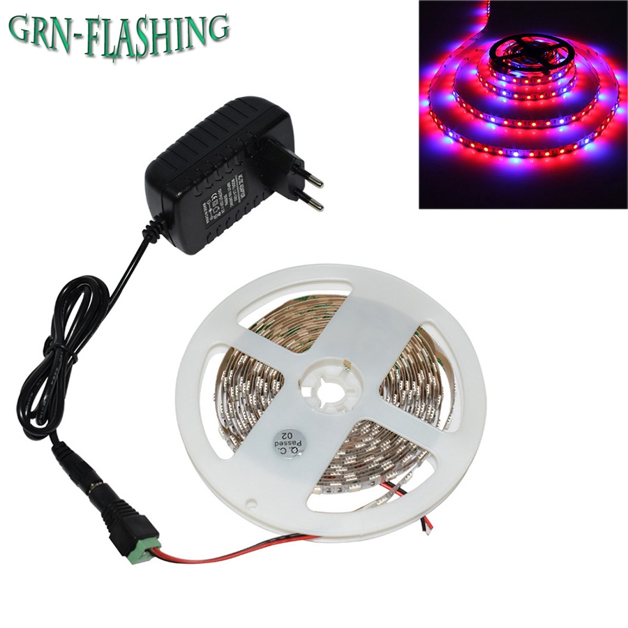 LED Grow Lights DC12V Växande LED Strip Plant Growth Light Full Spectrum + 12V 2A nätadapter för växthusgruvplanta