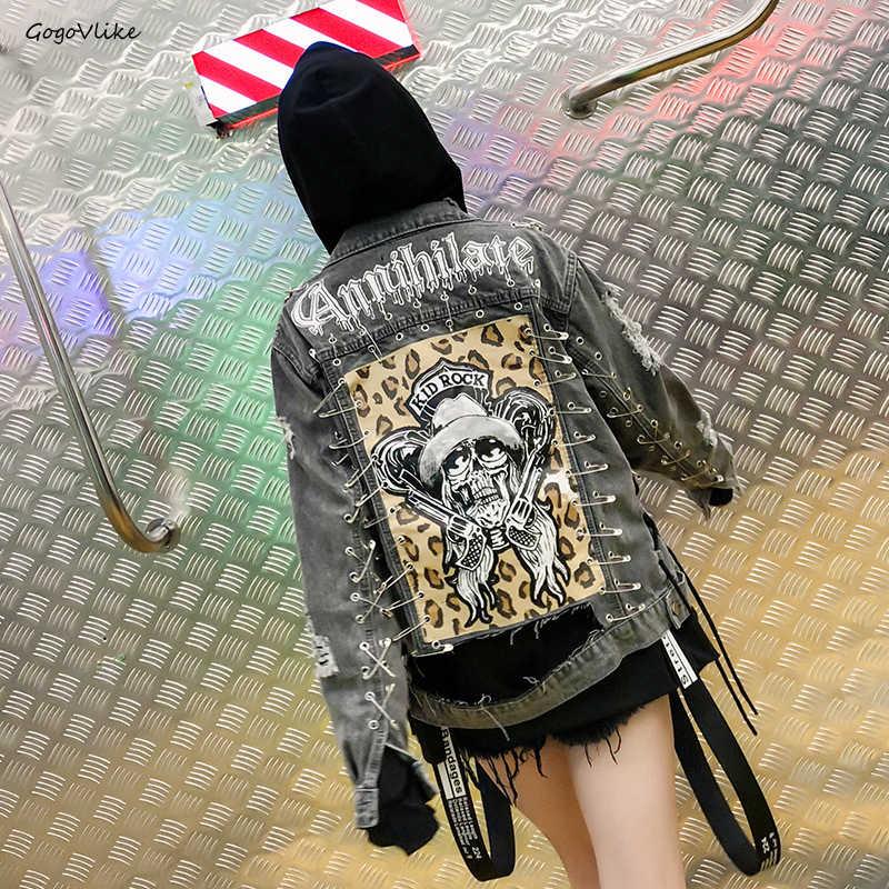 Crâne Léopard Jean Veste 2018 femmes Rock Punk Broches Chaînes Denim Manteau Beau Trous Vintage Manteau À Manches Longues Graffiti LT687S40