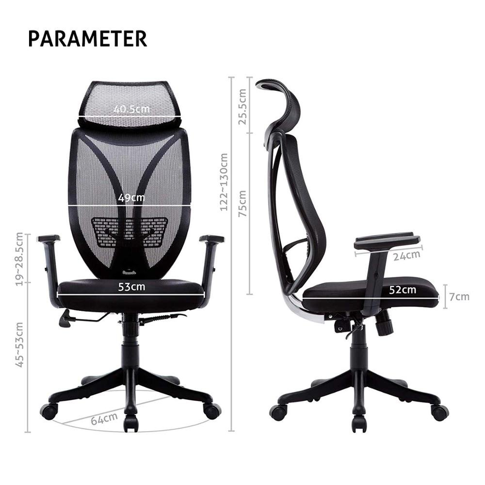 High Back Ergonomic Executive Office Chair Adjustable Armrests Mesh Computer Chair Head Support GB