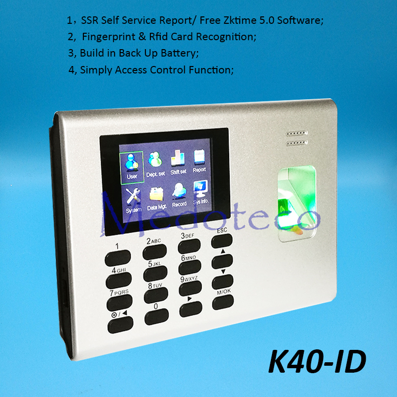 K40-ID TCP/IP Biometric Fingerprint Time Attendance + 125khz Rfid Reader SSR Employee Electronic Attendance with Back Up Battery built in 2000mah battery biometric time attendance with fingerprint reader terminal with tcp ip rj45 port employee attendance