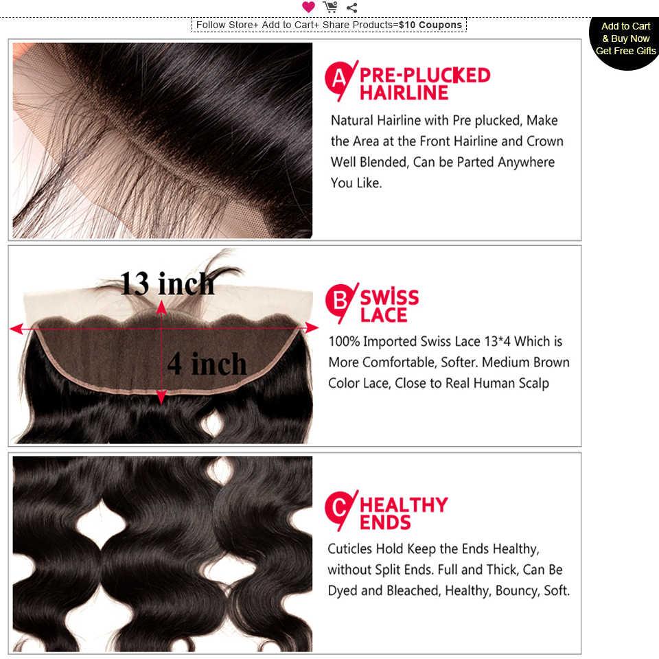 10- 30 Inch Bundles With Frontal Brazilian Body Wave Bundles With Frontal Closure Human Hair 3 Bundles With Lace Frontal Mi Lisa
