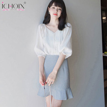 2019 Summer 2 Pieces Set Women White Shirt And Skirt Sets Office Lady Wear Outfits v-Neck Elegant Casual Suits