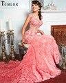 Tcmldr 2017 Chegam Novas Luxo Longo Sereia Vestidos Sexy O Pescoço Beading Rosa Vestido de Festa Lindo Capela Trem Vestido