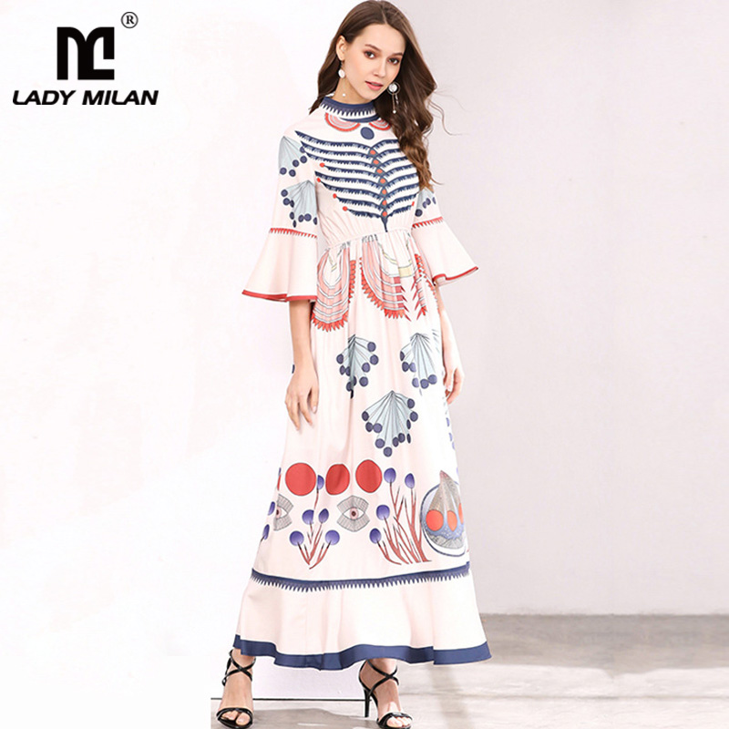 New Arrival 2018 Womens O Neck 3/4 Flare Sleeves Printed Ruffles Elegant Long Plus Sizes Fashion Runway Dresses