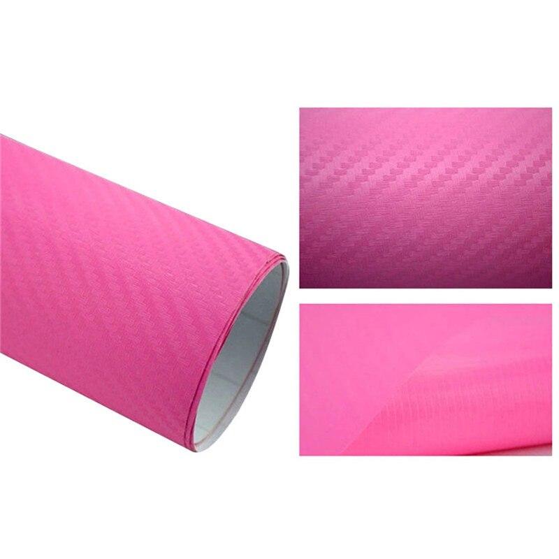 127cmx10/20 см 3D виниловая пленка из углеродного волокна для автомобиля, рулонная пленка, наклейка на машину, мотоцикл, наклейки для автомобиля, аксессуары для интерьера - Color Name: Pink