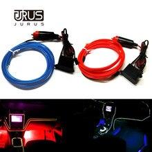 цена на JURUS 2M Led Car Lights Interior Flexible Neon 12V El Cold Light Wire Tube Cable Decoration Strip Lamp Car Cigarette Lighter