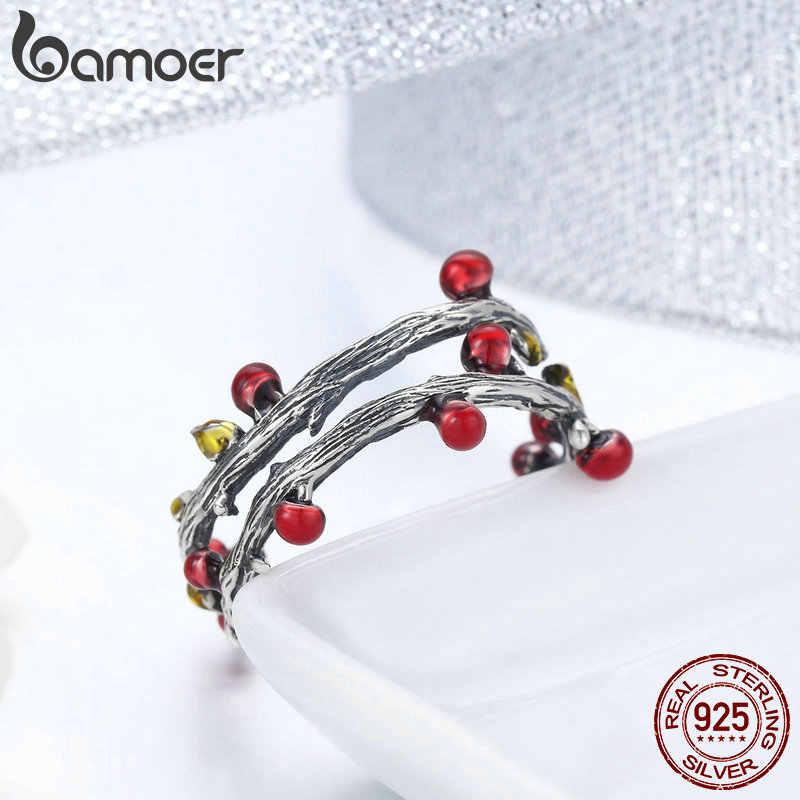 Bamoer real 925 prata esterlina outono murchas árvore folhas anéis de dedo ajustável para as mulheres anel de casamento jóias anel anel anel anel anel anel scr442