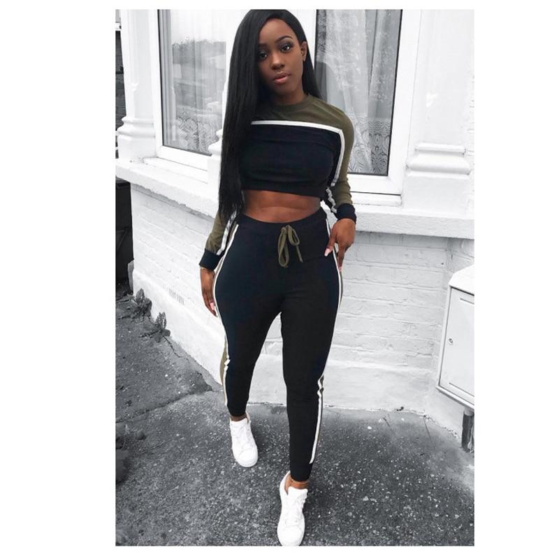YAXAN Women Casual Sport Striped Crop Top Long Skinny Pant Set Tracksuit Tank Dress Color : Pink, Size : XL