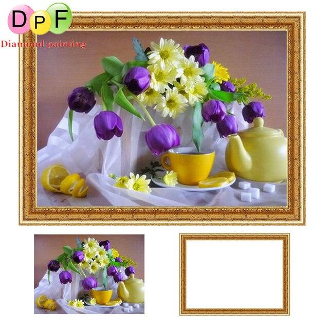 DPF Diamante punto de Cruz pintura Tulipanes son la tetera Redonda ...