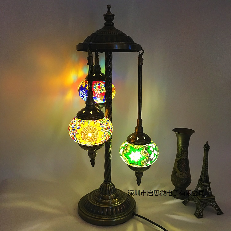 3 lampshades Turkey Mosaic Floor Lamp Mediterranean style Art Deco Handcrafted mosaic Glass romantic Decorative indoor light-in Floor Lamps from Lights & Lighting    1
