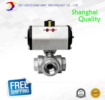 "1"" DN25 thread stainless steel ball valve,3 way 316 screwed/female pneumatic ball valve_double acting AT T port ball valve"