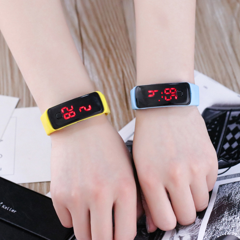 цена на JOYROX Fashion LED Display Digital Sports Watch Hot Silicone Strap Children Wristwatch Girls Boys Kids Candy Color Clock