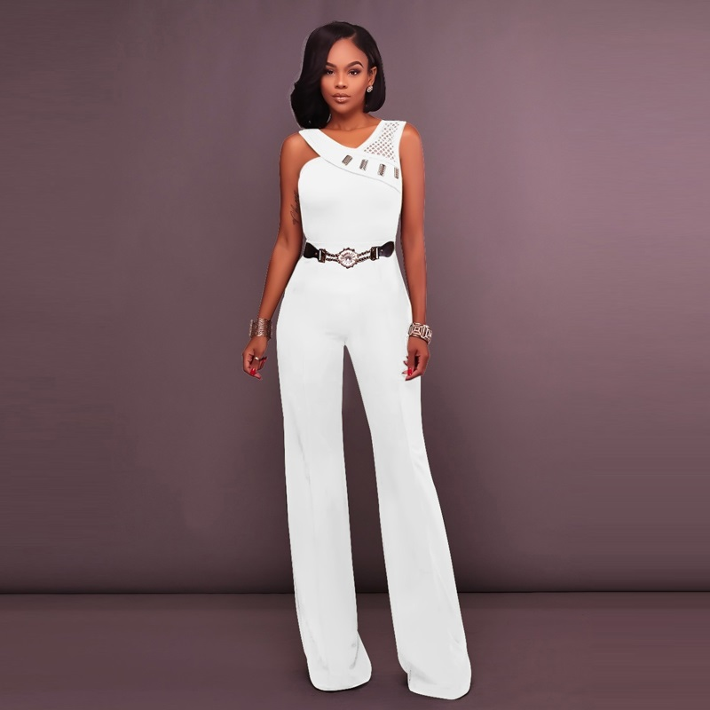 White Rompers Womens   Jumpsuit   And Rompers Long Pant 2019 New Summer Fashion Elegant Sexy Backless Off Shoulder Belt   Jumpsuits