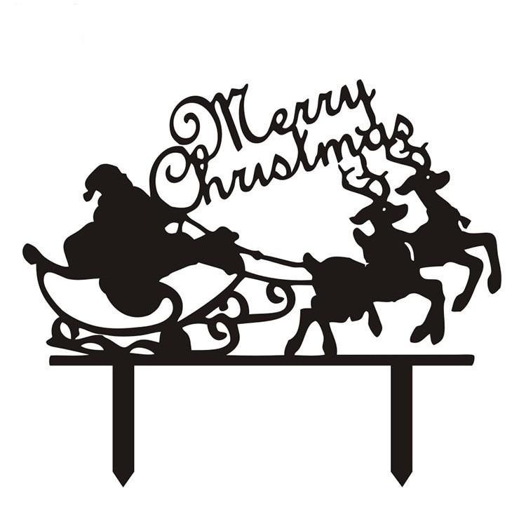 Merry Christmas Santa Claus Cake Flags Black White Acrylic Cake