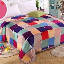 Manta manta mantas de cachemira Hurón marca a cuadros de lana super caliente suave tiro en el Sofá/Cama/Avión de Viaje Plaids patchwork